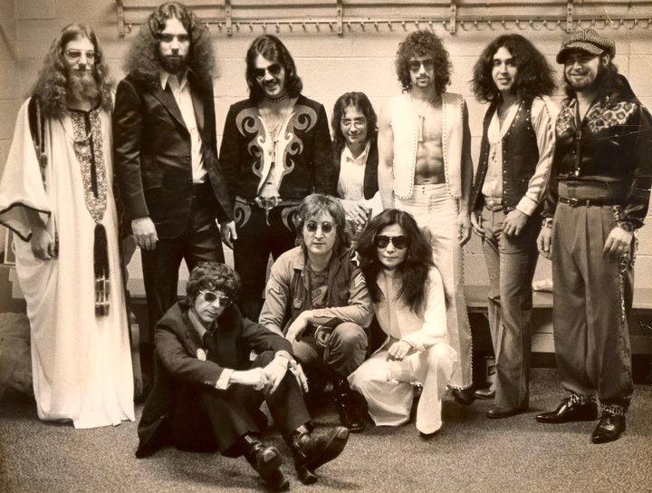 OneToOneBandJohn Ward, Gary Van Scyoc, Tex Gabriel, Jim Keltner, Rick Frank, Adam Ippolito & Stan Bronstein. Front row -Phil Spector, John Lennon & Yoko Ono