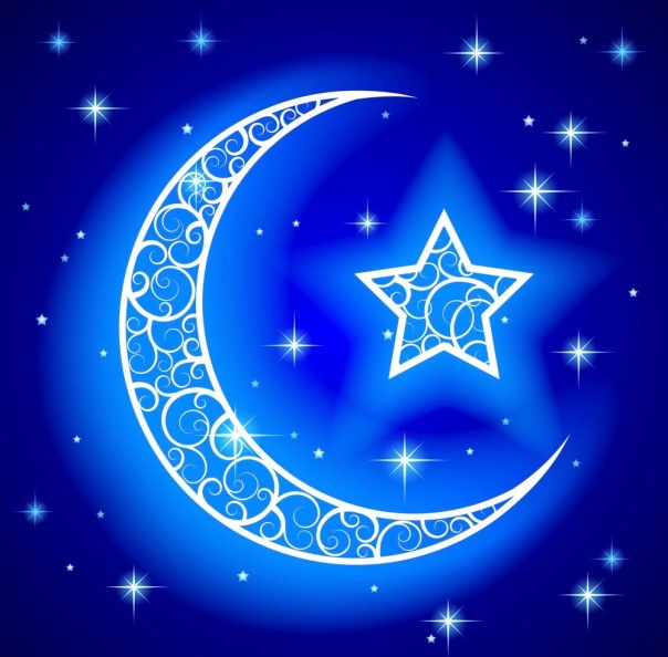 Shining decorative half moon with star on blue night starry sky background